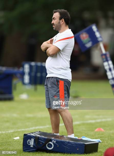 Dan Abrahams the England psychologist looks on during the England training session at the Lensbury Club on August 7 2017 in Teddington England