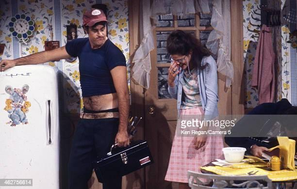 Dan Ackroyd and Gilda Radner are photographed on the set of Saturday Night Live in 1978 in New York City CREDIT MUST READ Ken Regan/Camera 5 via...