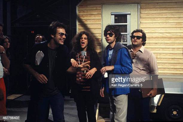 Dan Ackroyd Gilda Radner Mick Jagger of the Rolling Stones and John Belushi are photographed on the set of Saturday Night Live in October 1978 in New...