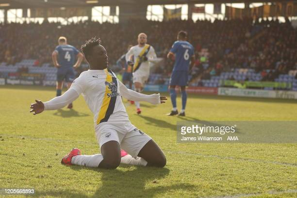 Dan Agyei of Oxford United celebrates after scoring a goal to make it 22 during the Sky Bet League One match between Shrewsbury Town and Oxford...