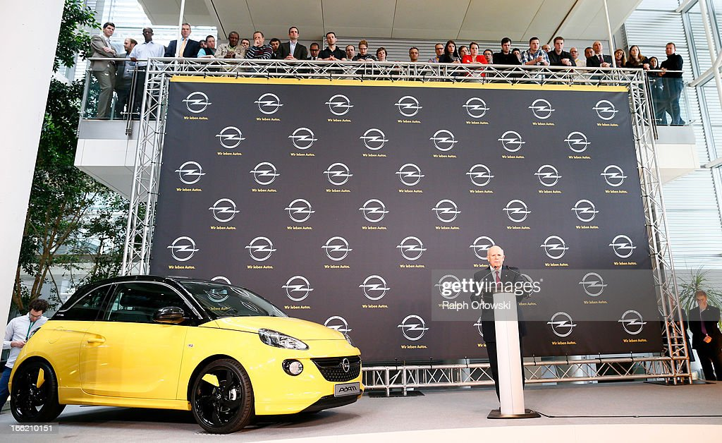 Dan Akerson, CEO of General Motors speaks next to an Opel car 'Adam' during a press conference at Opel headquarters on April 10, 2013 in Ruesselsheim, Germany. German carmaker Opel has suffered in recent years from falling sales and the future of its factory in Bochum is uncertain. GM has owned Opel since 1926.