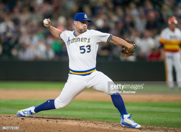 Dan Altavilla of the Seattle Mariners delivers a pitch during a game against the Houston Astros at Safeco Field on June 24 2017 in Seattle Washington...