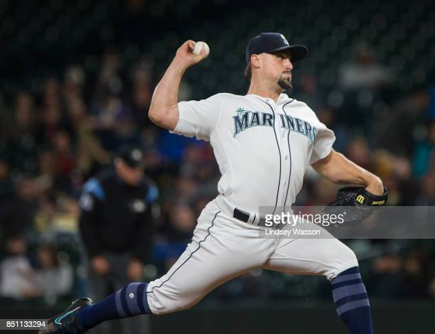Dan Altavilla of the Seattle Mariners delivers against the Texas Rangers in the fifth inning at Safeco Field on September 21 2017 in Seattle...