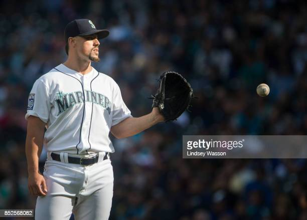 Dan Altavilla of the Seattle Mariners gets another ball after allowing a double by Austin Jackson of the Cleveland Indians in the seventh inning at...