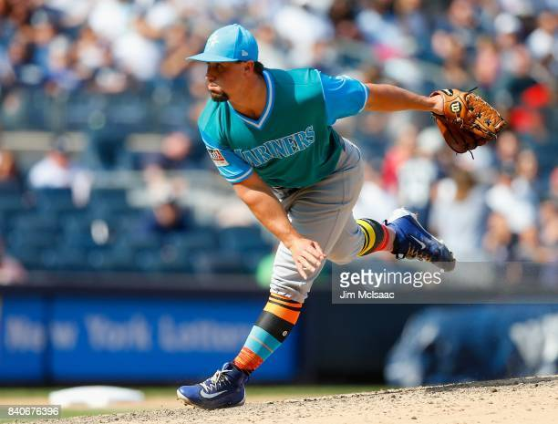 Dan Altavilla of the Seattle Mariners in action against the New York Yankees at Yankee Stadium on August 27 2017 in the Bronx borough of New York...