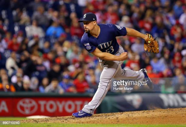 Dan Altavilla of the Seattle Mariners throws a pitch during a game against the Philadelphia Phillies at Citizens Bank Park on May 9 2017 in...