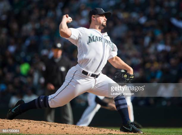 Dan Altavilla of the Seattle Mariners throws against the Cleveland Indians at Safeco Field on September 23 2017 in Seattle Washington The Cleveland...