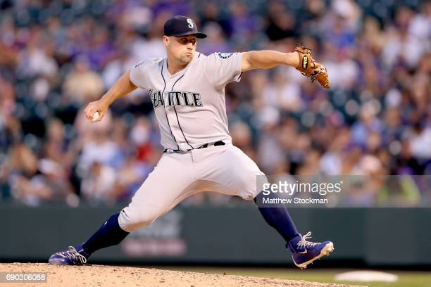 Dan Altavilla of the Seattle Mariners throws in the ninth inning against the Colorado Rockies at Coors Field on May 30 2017 in Denver Colorado