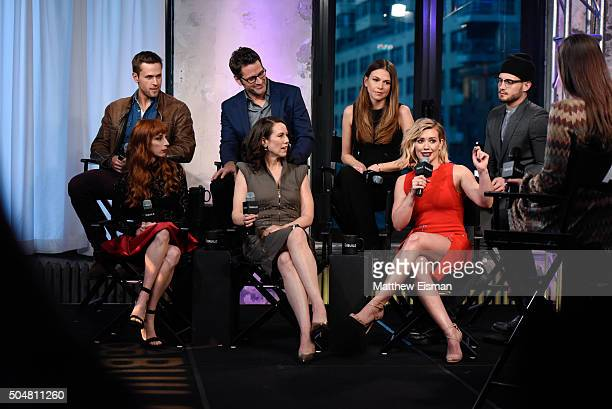 Dan Amboyer Molly Bernard Peter Hermann Miriam Shor Sutton Foster Hilary Duff and Nico Tortorella of the TV Land series 'Younger' attend AOL Build...