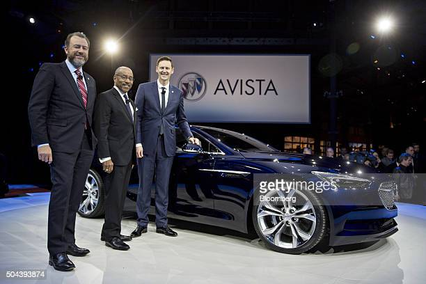 Dan Ammann president of General Motors Co left Edward Ed Welburn vice president of global design at GM center and Duncan Aldred vice president of...