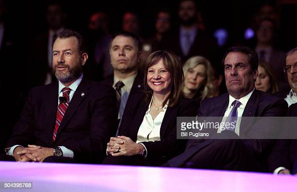 Dan Ammann President of General Motors Mary Barra GM Chairman and CEO and Mark Reuss GM President of North America attend the reveal on the eve of...