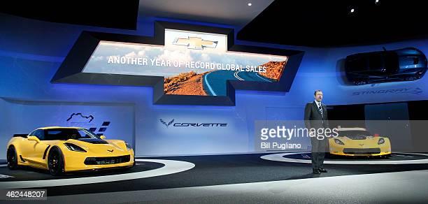Dan Ammann President of General Motors North America introduces the 2014 Corvette C7R race car and the Corvette Z06 at the press preview of the 2014...