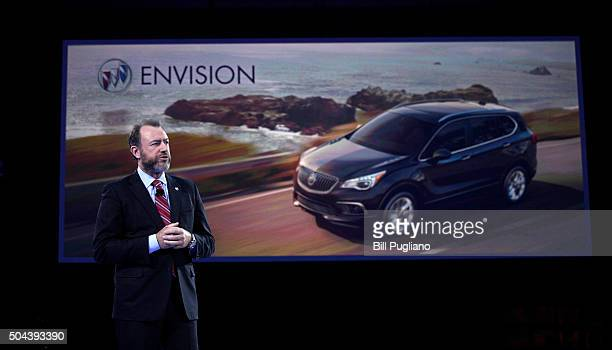 Dan Ammann President of General Motors speaks at the Buick reveal on the eve of the 2016 North American International Auto Show January 10th 2016 in...
