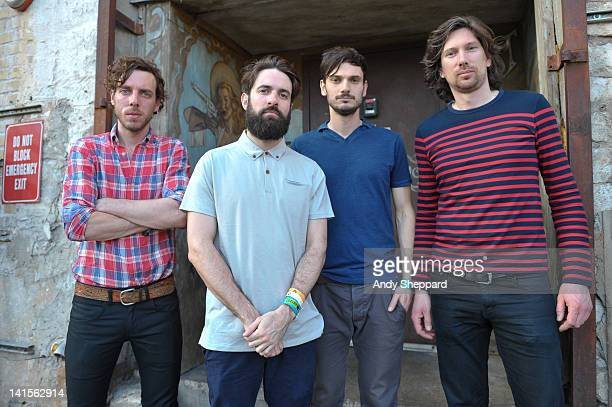 Dan Armstrong Guy Connelly Andy West and Che Albrighton of Clock Opera pose backstage at The British Music Embassy Latitude 30 during SXSW Music...