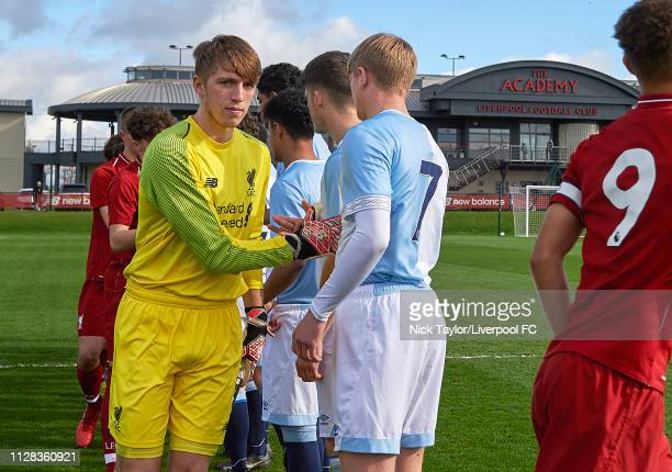 Dan Atherton of Liverpool during the handshake before the U18 Premier League game at The Kirkby Academy on March 2 2019 in Kirkby England