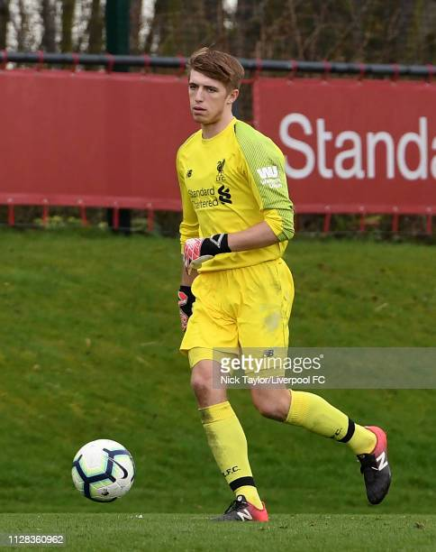 Dan Atherton of Liverpool in action during the U18 Premier League game at The Kirkby Academy on March 2 2019 in Kirkby England