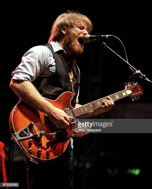 Dan Auerbach performs on stage playing a Harmony guitar on Day 3 of Austin City Limits Festival 2009 at Zilker Park on October 4 2009 in Austin...