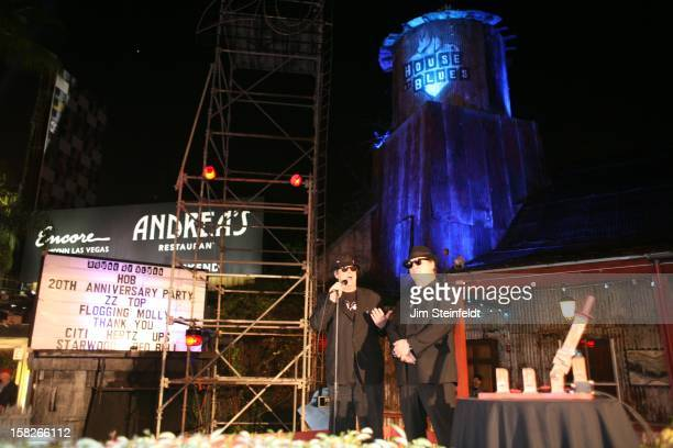 Dan Aykroyd and Jim Belushi as the Blues Brothers open the ceremony for the 20th Anniversary at the House of Blues in Los Angeles California on...