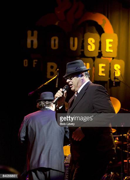 Dan Aykroyd and Jim Belushi of The Blues Brothers perform during the Opening of the House Of Blues on October 18 2008 in Houston Texas