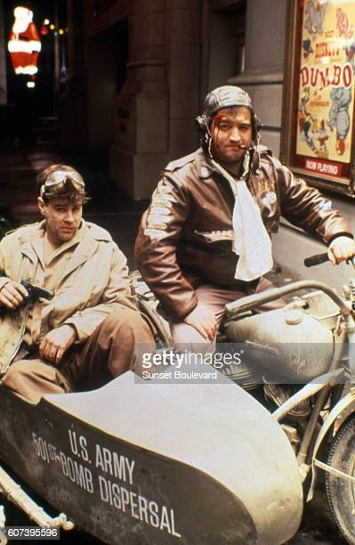Dan Aykroyd and John Belushi on the set of 1941