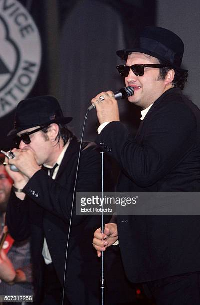 Dan Aykroyd and John Belushi performing with The Blues Brothers at the Palladium in New York City on June 1 1980