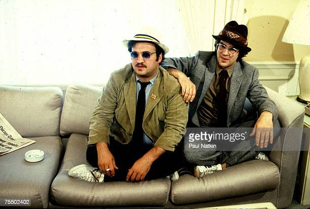 Dan Aykroyd and John Belushi promoting the movie Blues Brothers on 6/16/80 in ChicagoIl in Various Locations