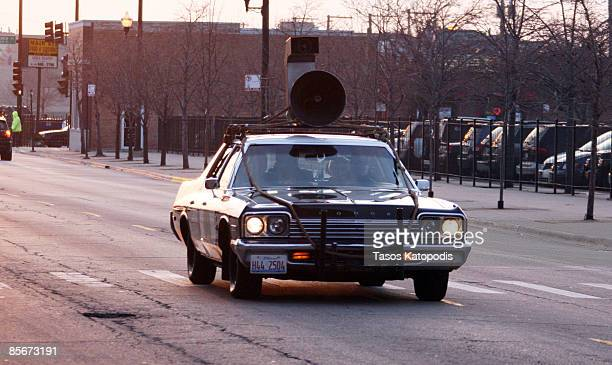 Dan Aykroyd arrives at Chicago Blackhawks game in the Blackhawks Mobile Car a 1974 Dodge Monaco from the movie 1980 The Blues Brothers March 27 2009...
