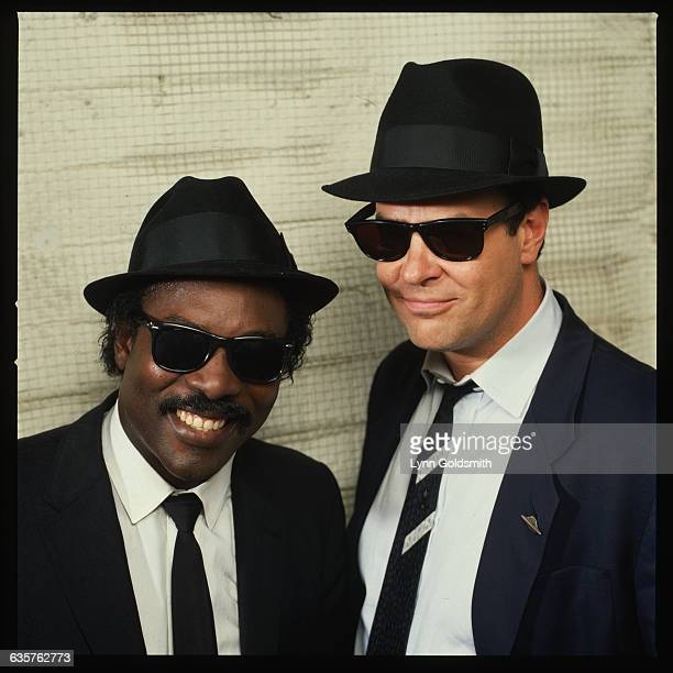 Dan Aykroyd dressed as Elwood Blues from the movie The Blues Brothers with singer Sam Moore