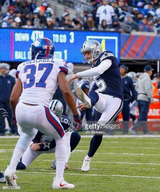 Dan Bailey of the Dallas Cowboys in action against the New York Giants on December 10 2017 at MetLife Stadium in East Rutherford New Jersey The...
