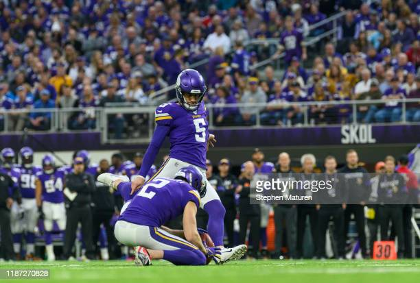 Dan Bailey of the Minnesota Vikings kicks a field goal in the second quarter of the game against the Detroit Lions at US Bank Stadium on December 8...