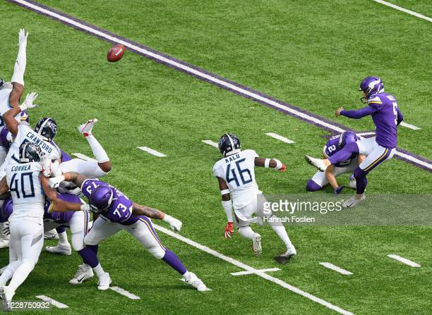 Dan Bailey of the Minnesota Vikings kicks the extra point after a touchdown against the Tennessee Titans during the first quarter of the game at U.S....