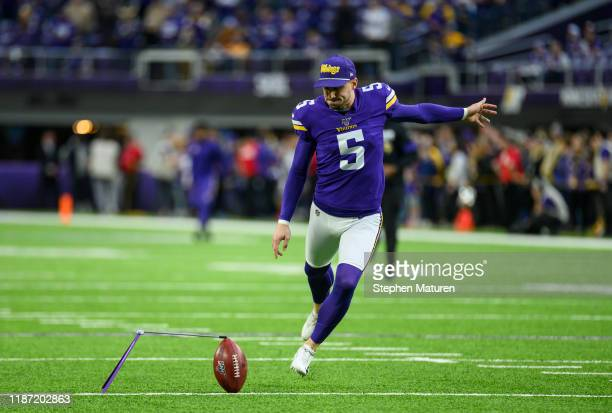 Dan Bailey of the Minnesota Vikings warms up before the game against the Detroit Lions at US Bank Stadium on December 8 2019 in Minneapolis Minnesota