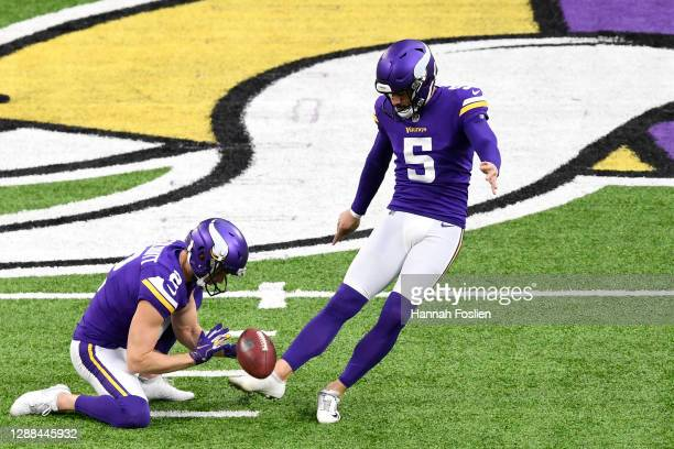 Dan Bailey of the Minnesota Vikings warms up before the game against the Carolina Panthers at U.S. Bank Stadium on November 29, 2020 in Minneapolis,...