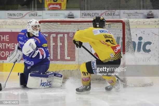 Dan Bakala of Villach and Taylor Vause of Vienna during the Vienna Capitals v EC VSV Erste Bank Eishockey Liga at Erste Bank Arena on January 18 2019...