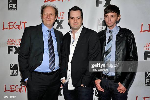 Dan Bakkedahl Jim Jefferies and DJ Qualls arrive for the screening of 'Legit' held at Fox Studios on January 14 2013 in Los Angeles California