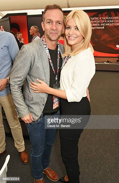 Dan Baldwin and Holly Willoughby attend the British Grand Prix in the Driver Lounge at Silverstone on July 10 2016 in Northampton England