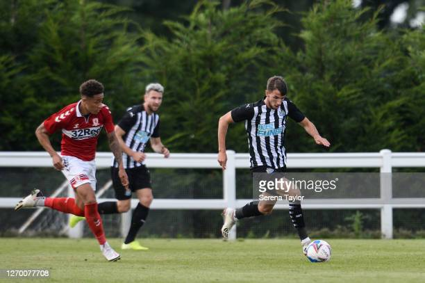 Dan Barlaser of Newcastle United runs with the ball during the Pre Season Friendly between Newcastle United and Middlesbrough FC at the Rockliffe...