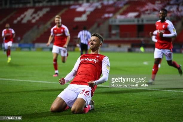 Dan Barlaser of Rotherham United celebrates after scoring a goal to make it 2-0 during the Sky Bet Championship match between Rotherham United and...