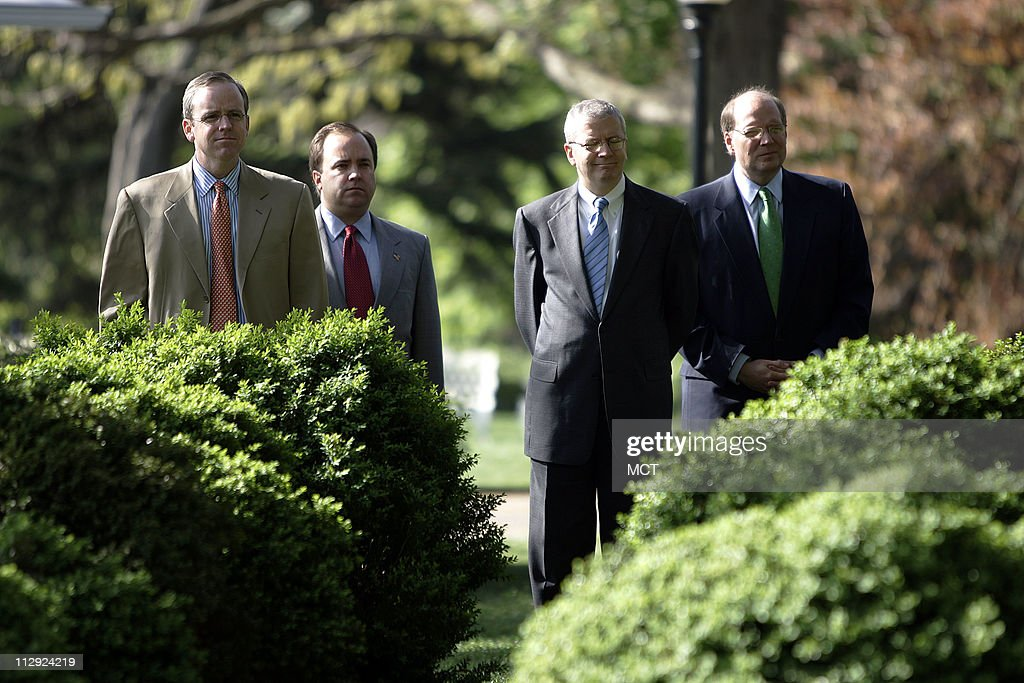 Dan Bartlett, Scott McClellan, new White House Chief of Staff Josh Bolton and Joe Hagin listen as President Bush introduces U.S. Trade Representative Rob Portman as his nominee for Director of the Office of Management and Budget in the Rose Garden of the White House in Washington Tuesday April 18, 2006.
