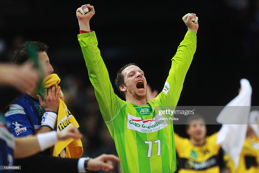 Dan Beutler of Hamburg celebrates during the Toyota Bundesliga handball game between HSV Hamburg and Rhein-Neckar Loewen at the O2 World on April 10, 2012 in Hamburg, Germany.