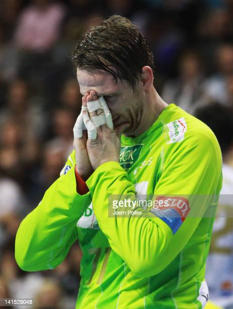 Dan Beutler of Hamburg gestures during the EHF Champions League round of sixteen match between Fuechse Berlin and HSV Hamburg at Max Schmeling hall...