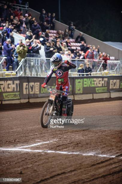 Dan Bewley acknowledges the cheers after his heat win during the SGB Premiership Grand Final 1st Leg between Belle Vue Aces and Peterborough Panthers...