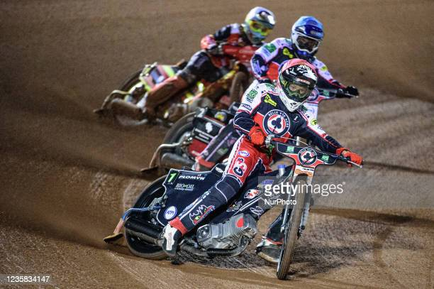 Dan Bewley and Richie Worrall lead Michael Palm Toft during the SGB Premiership Grand Final 1st Leg between Belle Vue Aces and Peterborough Panthers...
