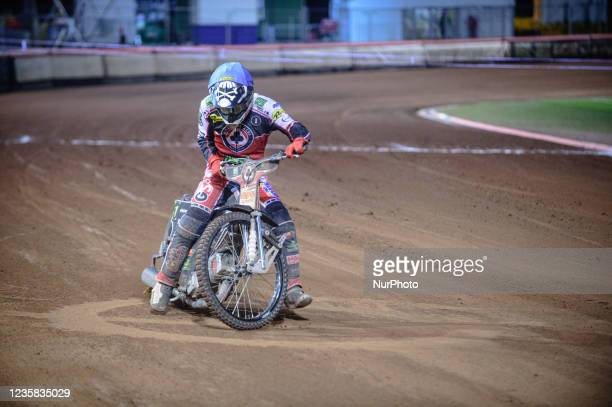 Dan Bewley does a do-nut on the track during the SGB Premiership Grand Final 1st Leg between Belle Vue Aces and Peterborough Panthers at the National...