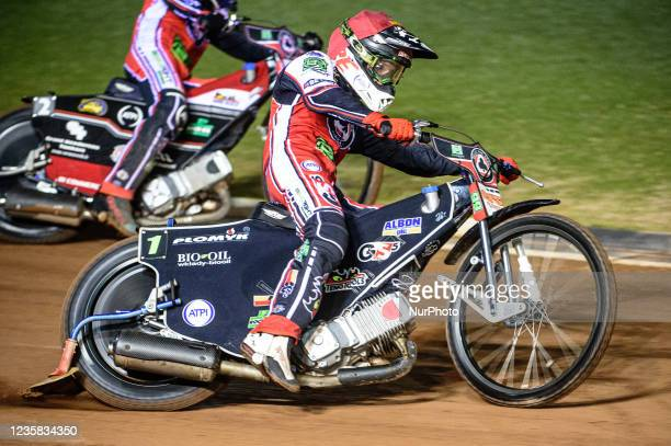 Dan Bewley in action for Belle Vue BikeRight Aces during the SGB Premiership Grand Final 1st Leg between Belle Vue Aces and Peterborough Panthers at...