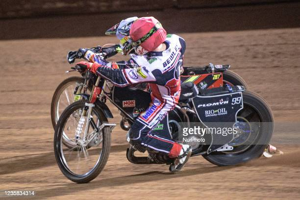 Dan Bewley inside Michael Palm Toft during the SGB Premiership Grand Final 1st Leg between Belle Vue Aces and Peterborough Panthers at the National...