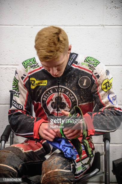 Dan Bewley prepares for his next heat during the SGB Premiership Grand Final 1st Leg between Belle Vue Aces and Peterborough Panthers at the National...