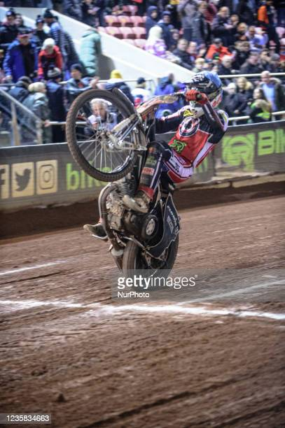 Dan Bewley wheelies during the SGB Premiership Grand Final 1st Leg between Belle Vue Aces and Peterborough Panthers at the National Speedway Stadium,...