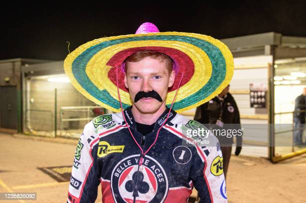 Dan Bewley with the mexican look during the SGB Premiership Grand Final 1st Leg between Belle Vue Aces and Peterborough Panthers at the National...