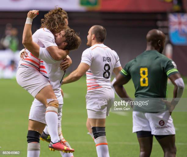 Dan Bibby and Ethan Waddleton celebrate after defeating South Africa in the Cup Final on day 2 of the 2017 Canada Sevens Rugby Tournament on March 12...